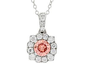 Pink and White lab-grown diamond 14K white gold halo pendant 1.00ctw