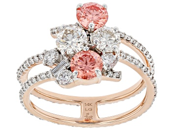 Picture of Pink and White Lab-Grown Diamond 14kt Rose Gold Ring 2.00ctw