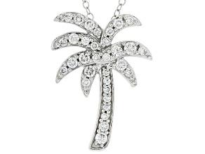 White Lab-Grown Diamond 14kt White Gold Palm Tree Pendant 0.50ctw