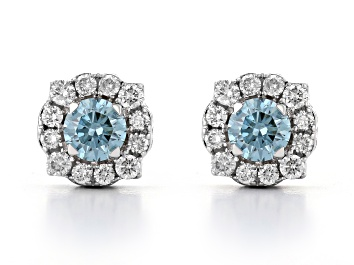 Picture of Blue and White lab-grown diamond, 14K white gold halo stud earring 1.00ctw.