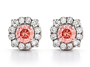 Pink and White lab-grown diamond, 14K white gold halo stud earring 1.00ctw.