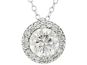 Round white lab-grown diamond, 14k white gold halo pendant 1.50ctw.