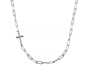 White Cubic Zirconia Rhodium Over Sterling Silver Necklace (0.314 ctw DEW)