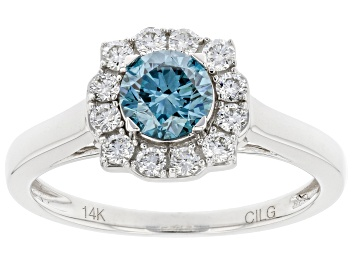 Picture of Blue and white lab-grown diamond 14k White Gold halo ring 1.00ctw.