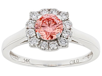 Picture of Pink and white lab-grown diamond 14k White Gold halo ring 1.00ctw.