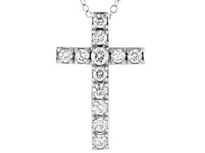 White Lab-Grown Diamond 14kt White Gold Cross Pendant 0.50ctw