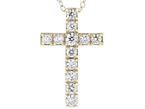 White Lab-Grown Diamond 14kt Yellow Gold Cross Pendant 0.50ctw