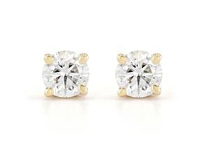 Round white lab-grown diamond 14kt yellow gold stud earrings 0.25ctw