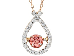 Pink and White Lab Grown Diamond 14kt Rose Gold Dancing Pendant 1.00ctw