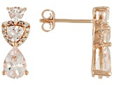 Morganite And White Diamond 10k Rose Gold Earrings
