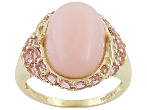 Peruvian Pink Opal 4.27ct Oval Cabochon With Pink Tourmaline 1.23ctw Round 10k Yellow Gold Ring