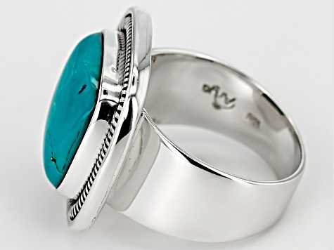Mens Teal Turquoise Silver Ring