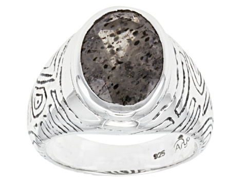 Black And White Quartz With inclusions Of Mica Silver Gents Ring 7.30ct.