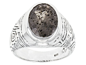 Mens Black And White Quartz With Inclusions Of Mica Silver Ring 7.30ct