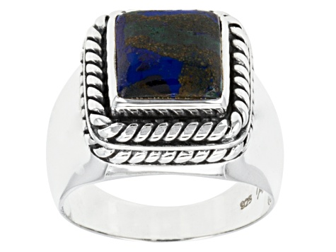 Multi-Color Azurmalachite Sterling Silver Gents Ring.