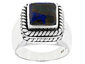 Multi-Color Azurmalachite Sterling Silver Gents Ring.