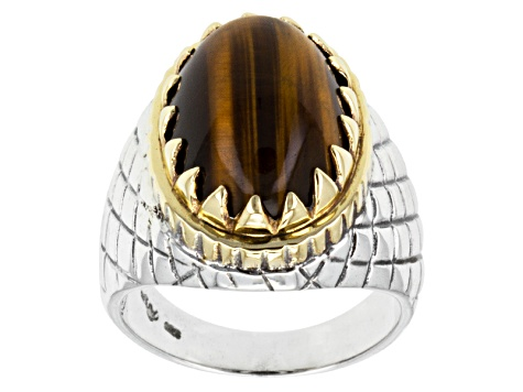 Brown Tigers Eye Two-Tone Silver Gents Ring.