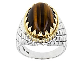 Mens Brown Tigers Eye Two-Tone Silver Ring