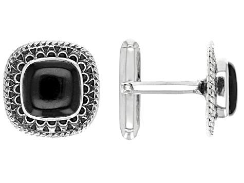 Black Onyx Sterling Silver Cuff Links