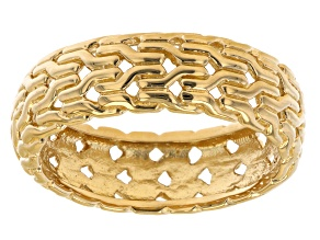 Mens 18k Yellow Gold Over Sterling Silver Band Ring