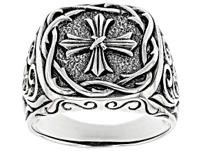 Mens Sterling Silver Cross Design Ring