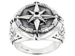 Black Spinel Sterling Silver Compass Ring .10ct