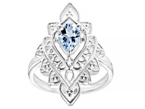 "Blue Aquamarine ""March Birthstone"" Sterling Silver Ring 0.55ct"