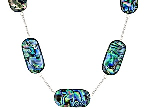 Abalone Shell Rhodium Over Sterling Silver Necklace 15-30mm