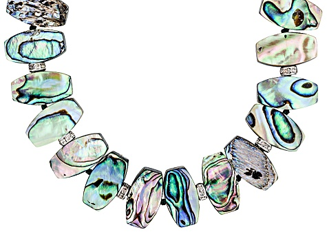 Abalone Shell With Crystal Stations Rhodium Plated Silver Necklace