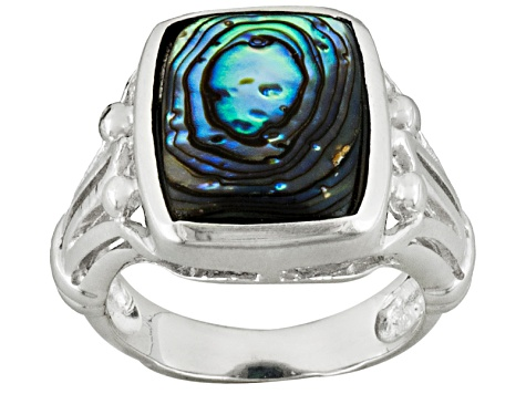 Abalone Shell Sterling Silver Ring 10x13mm