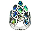 Abalone Shell Rhodium Over Sterling Silver inlay Ring