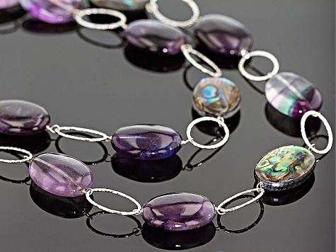 Abalone Shell With Fluorite And Amethyst Station Necklace 34 inch