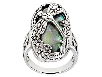 Picture of Abalone Shell Rhodium Over Sterling Silver Dragonfly Ring
