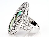Abalone Shell Rhodium Over Sterling Silver Dragonfly Ring