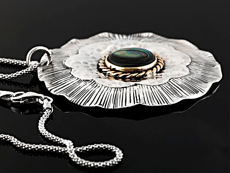 Abalone Shell Silver And Copper Pendant With Chain