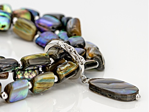 Abalone Shell Silver Stretch Bracelet Set With Charm