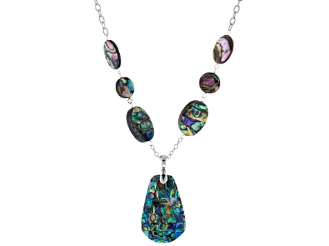 Abalone Shell Sterling Silver Necklace With Enhancer 18 inch