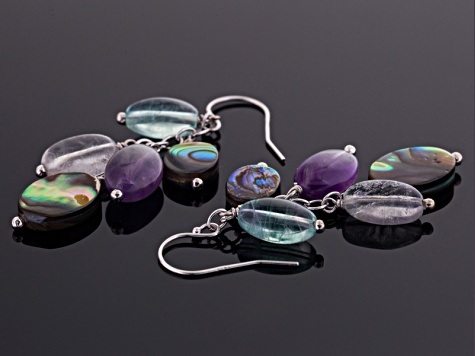 Abalone Shell, Amethyst, Fluorite Silver Dangle Earring