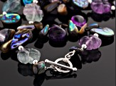 Abalone Shell, Amethyst, Fluorite Silver Necklace 40 inch