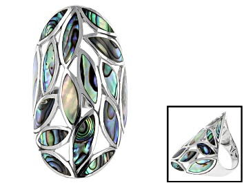 Picture of Marquise Abalone Shell Rhodium Over Sterling Silver Ring