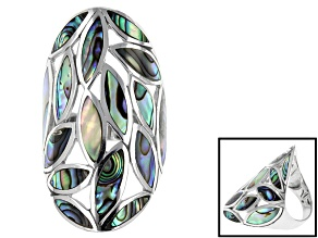 Marquise Abalone Shell Rhodium Over Sterling Silver Ring