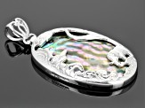 Abalone Shell Rhodium Over Sterling Silver Elephant Pendant