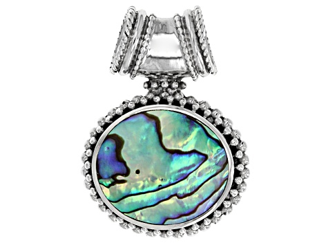 Abalone Shell Rhodium Over Sterling Silver Pebbled Border Pendant