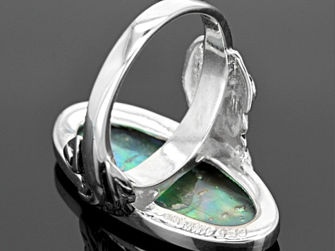 Abalone Shell Rhodium Over Sterling Silver Ring