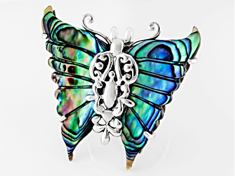 Abalone Shell Rhodium Over Sterling Silver Filigree Butterfly Ring