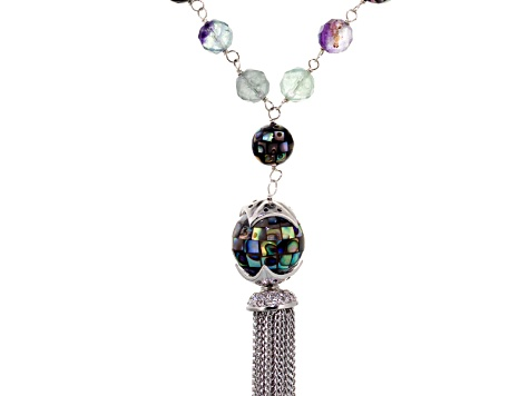 Abalone Shell, Fluorite, Diamond Simulant, Silver Tassel Necklace 20 inch