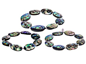 Abalone Shell Rhodium Over Sterling Silver Stretch Bracelet Set Of 3