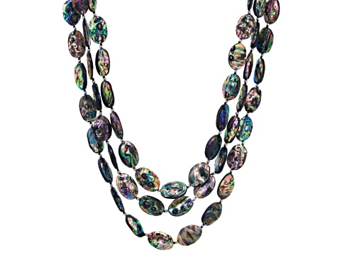 Abalone Shell Rhodium Over Sterling Silver Multi-Strand Necklace 18 inch