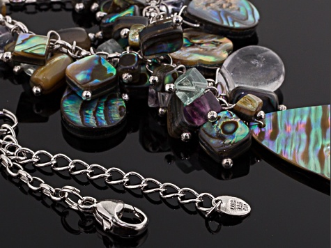 Abalone Shell, Fluorite Silver Necklace 18 inch