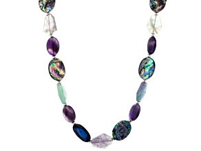 Abalone Shell, Amethyst, Fluorite Silver Necklace 22 inch